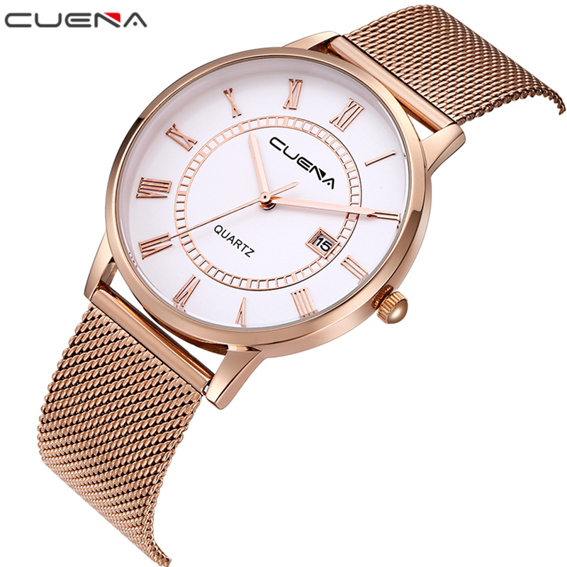 CUENA Fashion Mens Watches Top Brand Luxury Quartz Watch Relojes Stainless Steel Relogio Masculino Clock Waterproof Wristwatches relojes hombre 2017 mens watches top brand luxury carnival simple relogio automatico masculino dress stainless steel gift clock