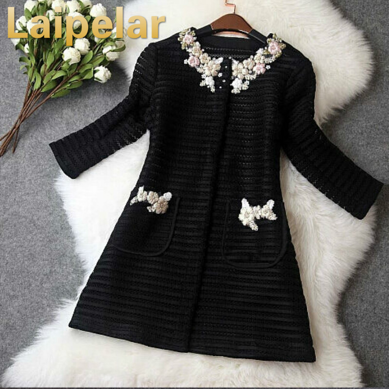 High quality new 2018 women ladies autumn winter fashion hollow out embroidery british style trench coat designer runway coat in Trench from Women 39 s Clothing