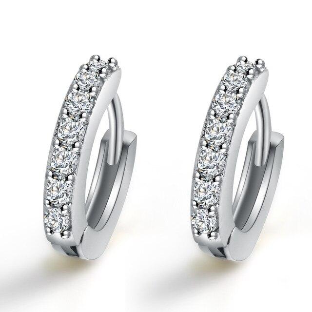 cb2f814fd11d Aretes de cristal pequeños redondos de lujo Piercing de oro de plata aro de  Huggie pendiente