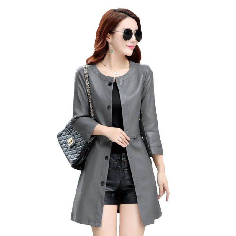 Plus Size 5XL Long Leather   Trench   Coat Women Autumn Winter O-Neck Fashion   Trench   Coat Campera Mujer Leather Windbreaker C4721