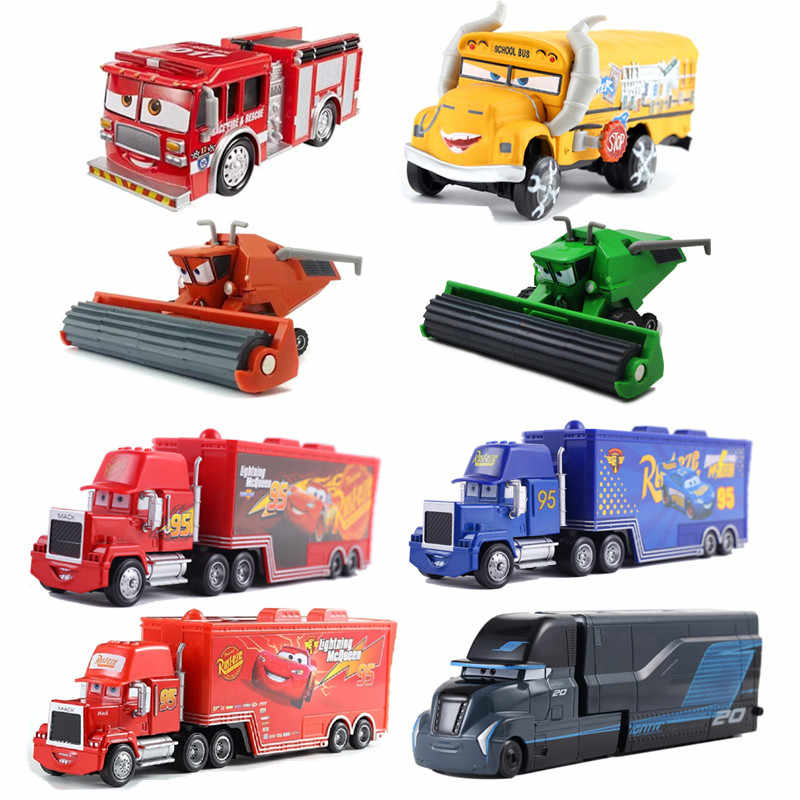 Disney Pixar Car 3 Miss Fritter Uncle Bulldozer Frank Harvester Jackson Storm Metal Car Model Toys Children's Day Birthday Gift