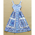 HIGH QUALITY Newest Fashion 2017 Designer Runway Dress Women's Chinese Blue White Porcelain Printed Retro Strap Dress