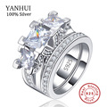 Silver Wedding Ring Sets 925 Sterling Silver Jewelry for Women Luxury Party CZ Diamond Round Fashion Female Bague Bijoux JR131