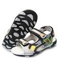 NOVA VERÃO 1 par menino Sandálias de Couro PU Calçados infantis Ortopédicos interior 16.2-23.5 cm, antiderrapante Crianças sapatos macios, sandálias
