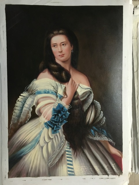 classical court people handmade oil painting long hair lady women hand  painted sitting room the central