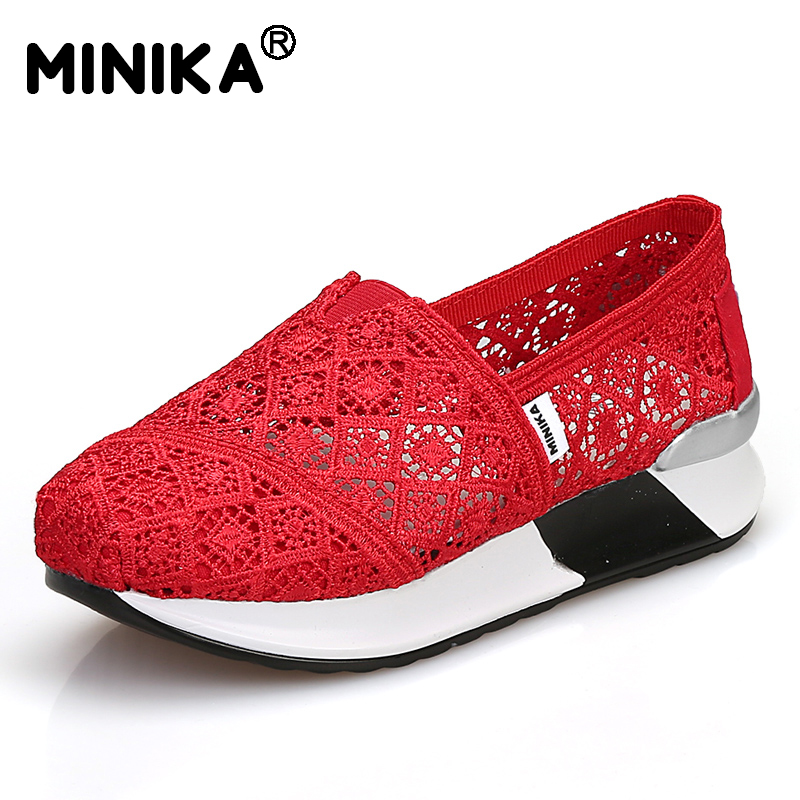 Minika Women Summer Casual Shoes Air Mesh Breathable Flat Shoes Hollow Pattern Slip-on Comfortable Shoes Loafers Zapatos Mujer 2017 summer style women casual shoes swing shoes flat breathable air mesh fashion shoes platform feminino slip on red 40 lesiure