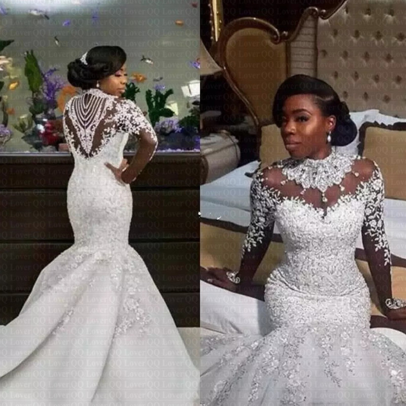 2019 Luxury Gorgeous Neck Wedding Dresses African Nigerian Beaded Sheer Long Sleeves Mermaid Bridal Gowns Arabic Wedding Gown