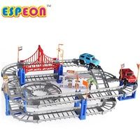 Electric Racing Rail Car Kids Train Track Model Toy Baby Railway Track Racing Road Transportation Building