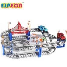 Elektromos Racing vasúti kocsi gyerekek vonat pálya modell játék bébi vasúti pálya versenyautó közúti szállítás épület nyerőgép 2 színben