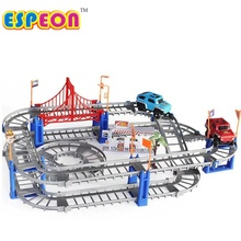 Electric Racing rail car kids train track model toy baby Railway Track Racing Road Transportation Building Slot Sets 2 Colors
