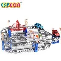 Elektrische Racing rail auto kids spoorlijn model speelgoed baby Railway Track Racing Road Transport Building Slot Sets 2 Kleuren