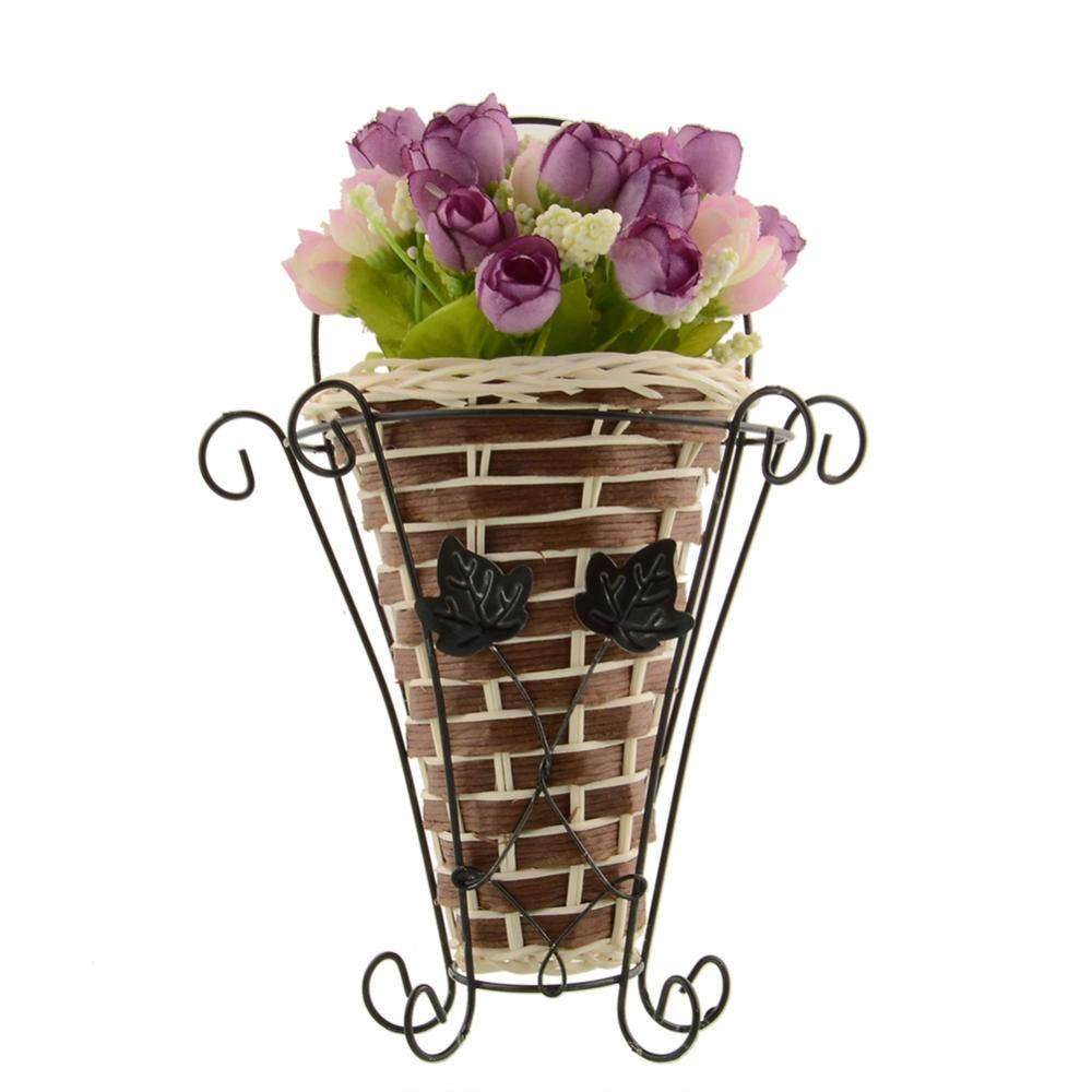 Hot Vintage Weave Vine Wall Hanging ArtiArtificial Flower Basket Flower Arrangment Party Decoration Home Decor New Drop Shipping