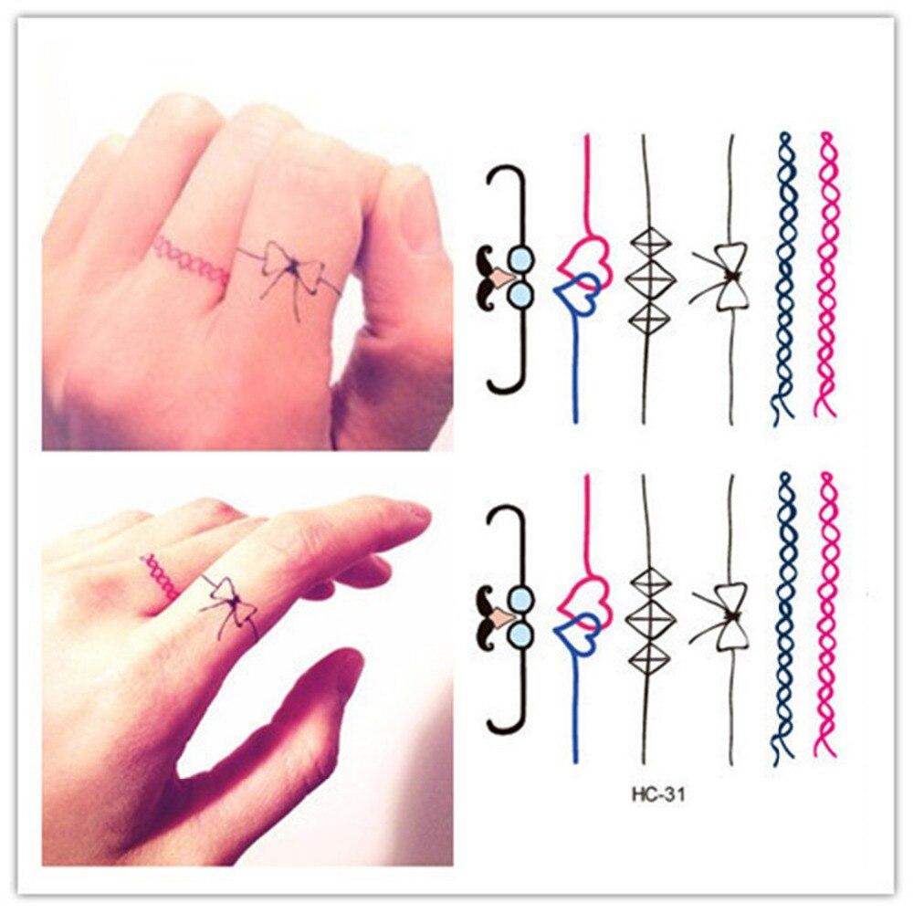 Temporary tattoo finger tattoos cute bowknot pattern for Temporary finger tattoos
