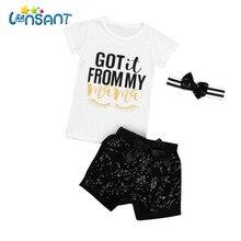 9779e8b0a8a485 LONSANT Mode Mädchen Kleidung Gesetzt Lässige Kurzarm T-shirt + Pants +  Headband Baumwolle Brief