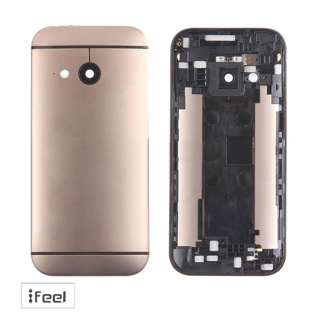 НОВАЯ Задняя крышка Батарейного Отсека корпуса Алюминиевый корпус Для HTC One mini 2 One M8 mini Золото
