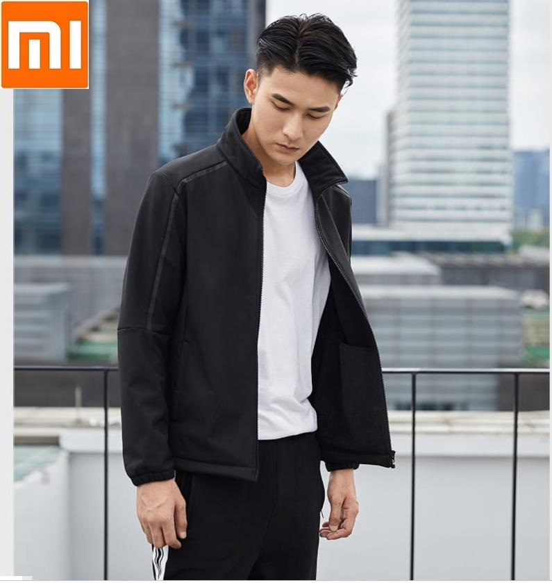 XiaoMi Uleemark Stand collar jacket male Softshell material warm reflective strip design casual jacketXiaoMi Uleemark Stand collar jacket male Softshell material warm reflective strip design casual jacket