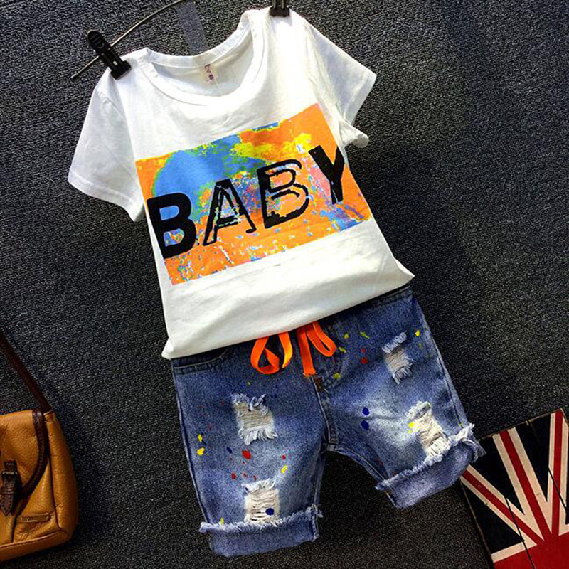 Boys clothing set short sleeve T-shirts for boys blouse + Denim Shorts Pants Jeans Two Pieces Set boys clothes set summer 2018 2017 new summer style men ripped hole short jeans male denim shorts adult knee length pants slim outwear clothing plus size