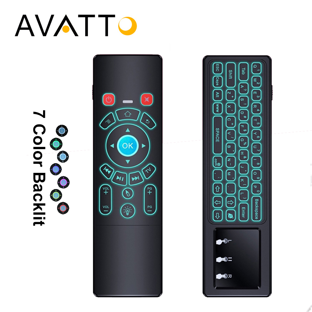 [AVATTO] T6 2.4G Wireless 7 Color Backlit Air Mouse with Touchpad IR Learning Backlight Mini Keyboard for Smart tv,Android Box t6 2 4ghz wireless air mouse keyboard remote with touchpad