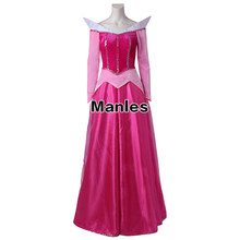 Sleeping Beauty Aurora Dress Princess Fancy Dress Aurora Cosplay Costume Adult Halloween Pink Party Dress Women Girl Custom Made(China)