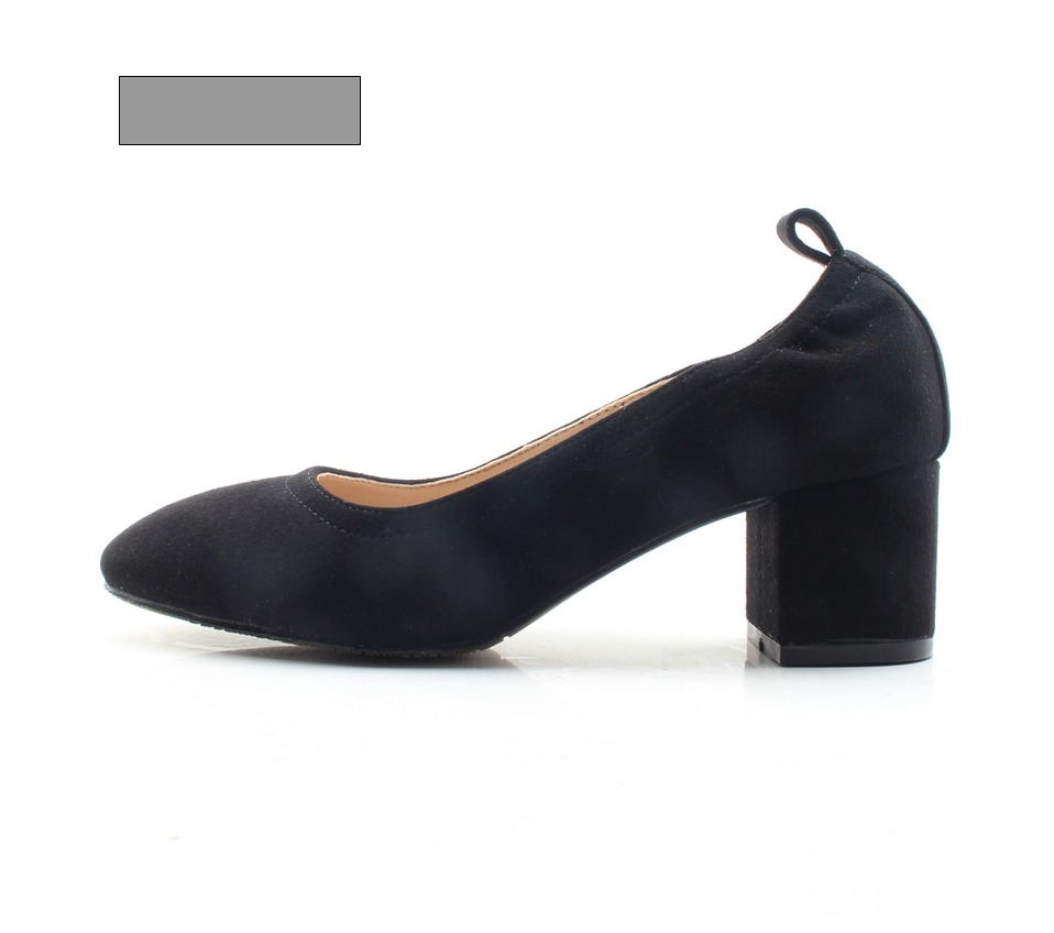 Shoes Women Genuine Leather Fashion Office and Career Rounded Toe 2-inch Block Heel Fashion Office Lady Pumps Size 34-41, K-307 71