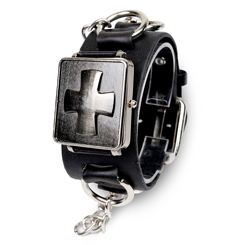 mens bangle watch promotion shop for promotional mens bangle watch 2016 quartz bangles watches men s cool black leather wristwatch stainless steel cross montre gothic fashion jewelry gift
