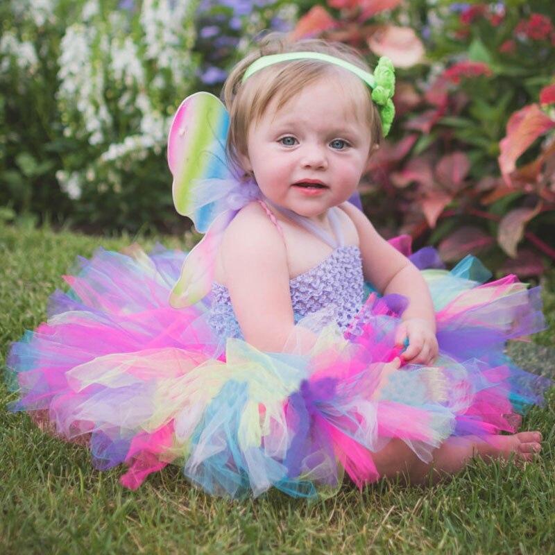 Niñas Rainbow Tutu vestido de hadas vestido de bebé mullido con - Ropa de bebé - foto 2