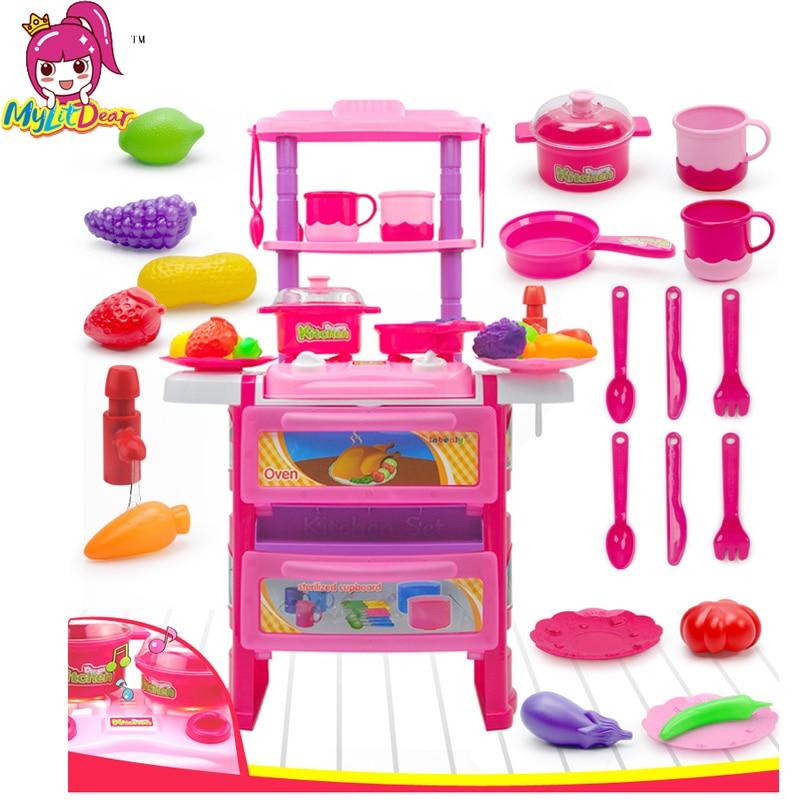 Verenigd Baby Miniatuur Keuken Plastic Fantasiespel Voedsel Kinderen Speelgoed Met Muziek Licht Kids Keuken Koken Speelgoed Set Voor Meisjes Games Hot Verfrissend En Weldadig Voor De Ogen