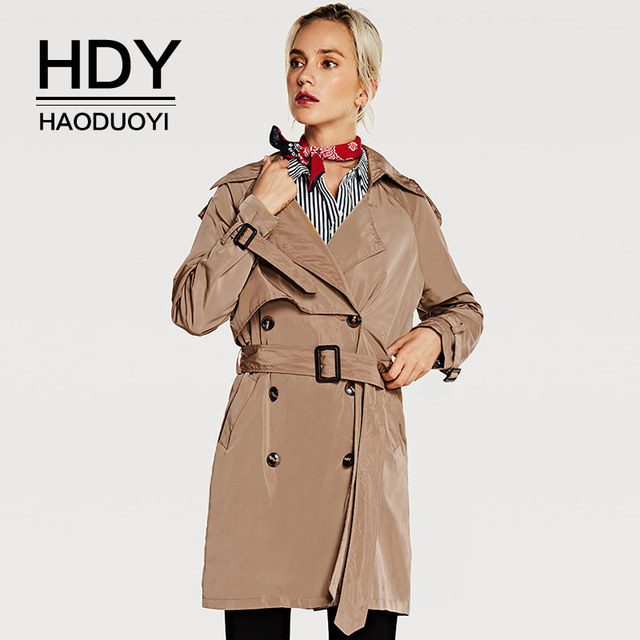 dd417f40c HDY Haoduoyi Classic European Trench Coat khaki Double Breasted Women Coats  Winter Overcoats Casual Outerwear Adjustable Waist-in Trench from Women's  ...