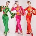2016 Estágio Roupas Traje Chinês Dança Folclórica Yangko Nacional Feminino Traje Serviço Coral Roupas de Dança Trajes de Dança do Tambor
