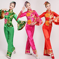2016 Stage Costume Chinese Folk Dance Clothing National Costume  Female Yangko Dance Costumes Drum Choral Service Dance Clothes