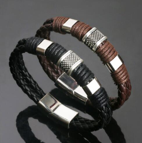 Rock Fashion Weave Genuine Leather Men's Bracelets Stainless Steel Retro Braided Bracelet for Male Punk Pulseira Masculina