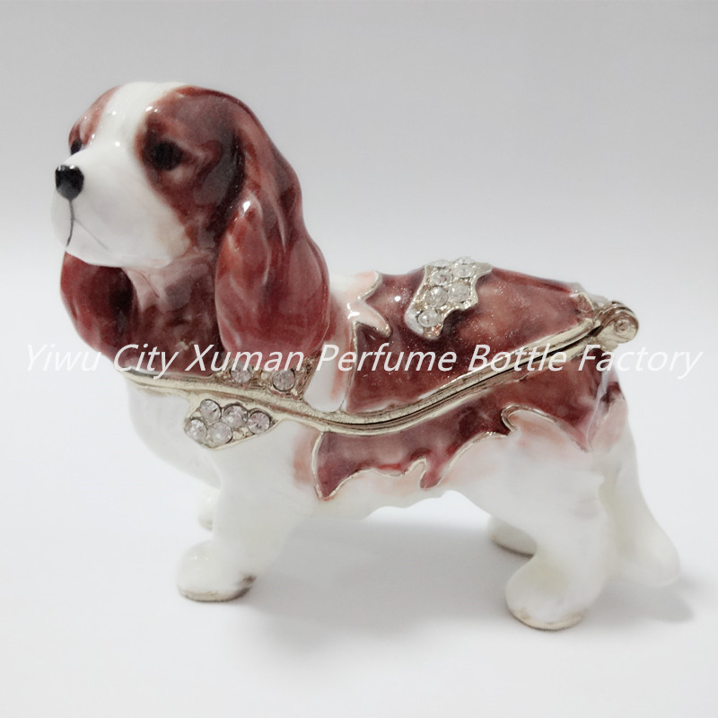 Metal Dog Jewelry Case Storage Trinket Box home decor pewter ornament wild animal enameled keepsake box vintage collectible gift