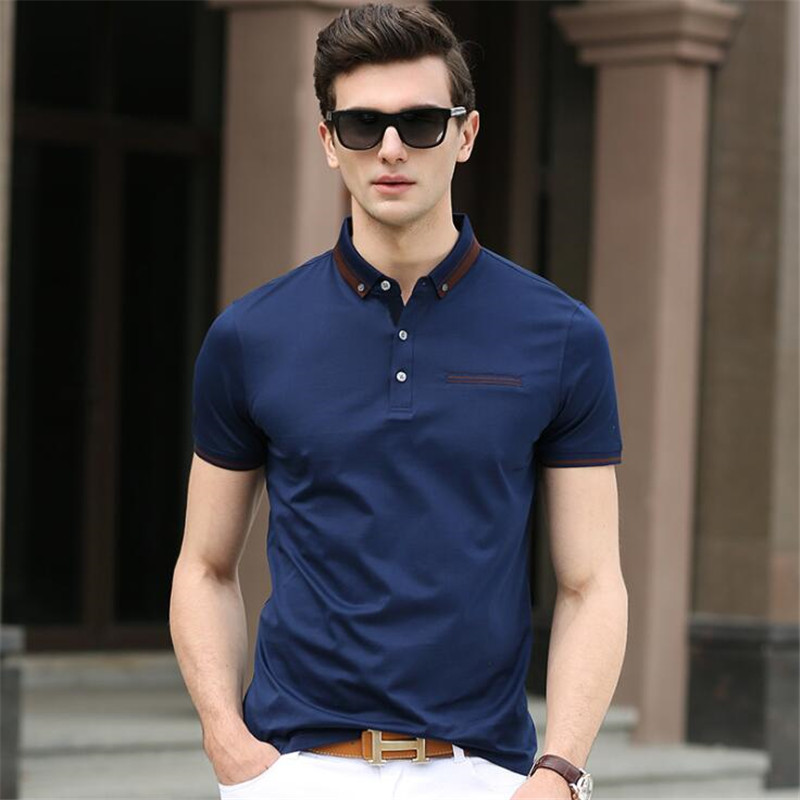 50pcs Business Men Lapel Collar Tops&Tees High-end Quality Cotton Slim Short Sleeve Shirt Summer Big Yards Classic   Polos   Shirts