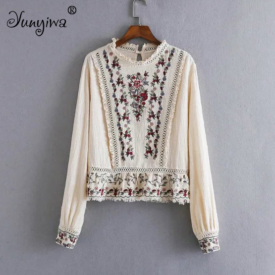 Yuuyiwa Women   Blouses     Shirts   Fashion Lace Collar Heavy Duty Embroidered Slim Slim   Shirt   Top Tops Blusas Mujer De