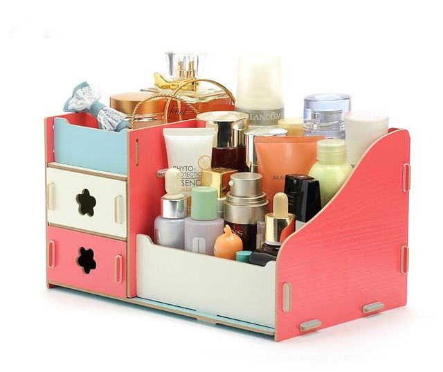 Organizer Storage Box Wooden Jewelry Box White Make Up  Cosmetic Box With Drawer Lipstick Holder