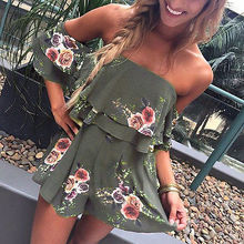 New Women Short Sleeve Romper Jumpsuit Off Shoulder Strapless Mini Rompers Playsuit Floral Dark Green