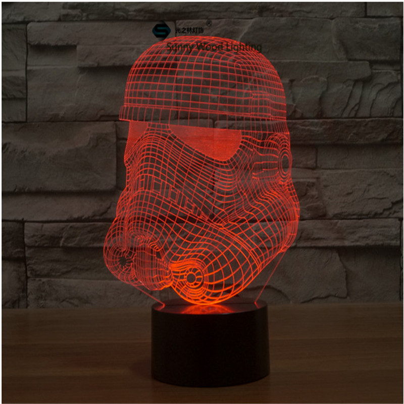 Storm Trooper Star Wars touch switch LED 3D lamp ,Visual Illusion 7color changing 5V USB for laptop, desk decoration toy lamp