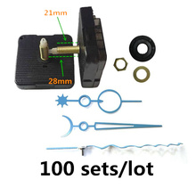 100sets DIY Clock Mechanism Classic Hanging Quartz Watch Wall Movement Parts Repair Replacement 28mm shaft with hook