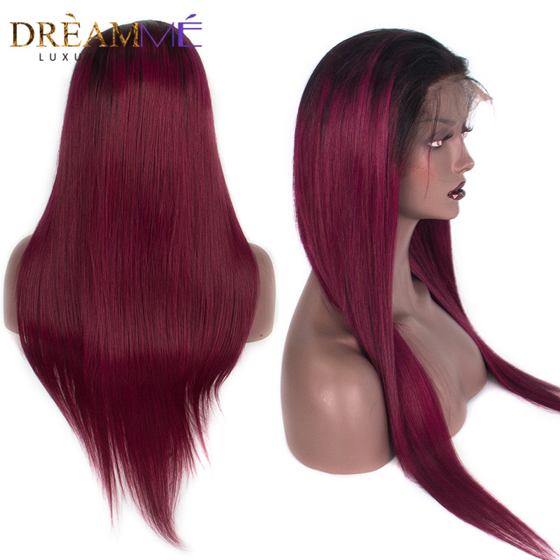 Lace Front Human Hair Wigs With Baby Hair Brazilian Straight Remy Hair wig 1B 99J Burgundy