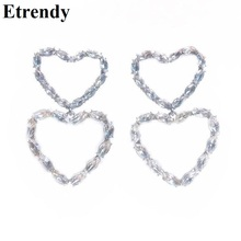 Korean 2019 New Rhinestone Double Heart Dangle Earrings For Women Temperament Pendientes Statement Chic Jewelry цена 2017