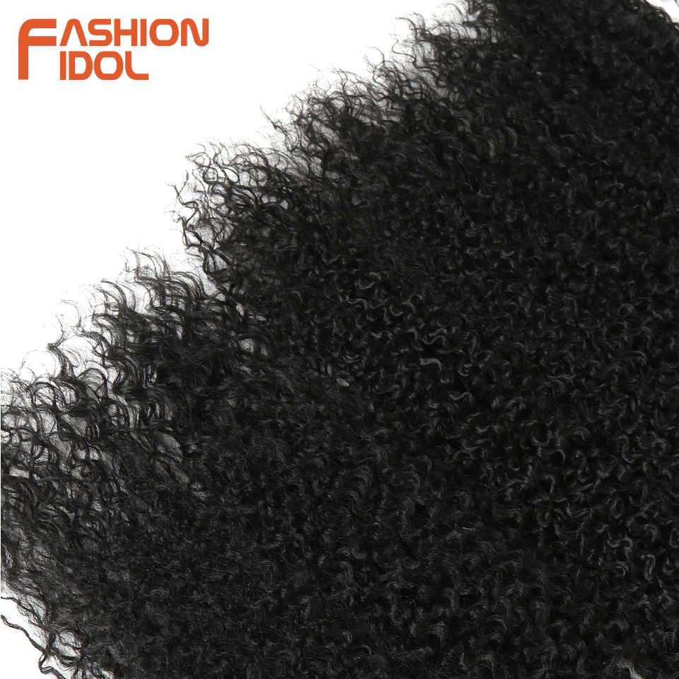 Мода IDOL афро кудрявые пучки вьющихся волос 7 шт./упак. 22-26 дюймов Омбре природа черный цвет завивка искусственных волос пучки кудрявые волосы