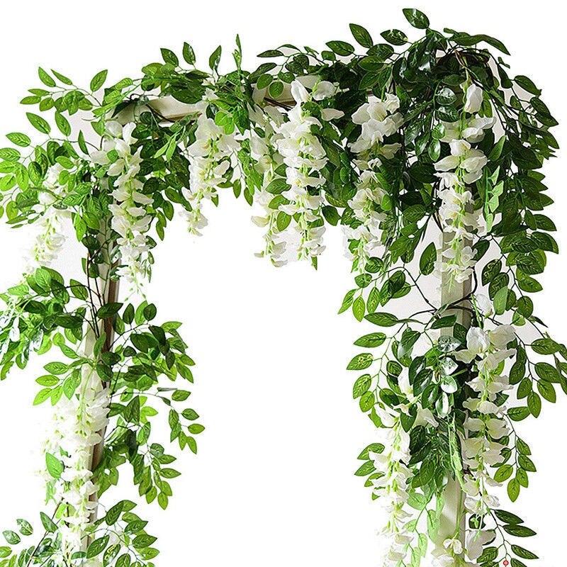 Künstliche Und Getrocknete Blumen 7ft 2 M Blume String Künstliche Wisteria Vine Garland Pflanzen Laub Outdoor Home Hinter Blume Gefälschte Blume Hängen Wand Dekor Haus & Garten