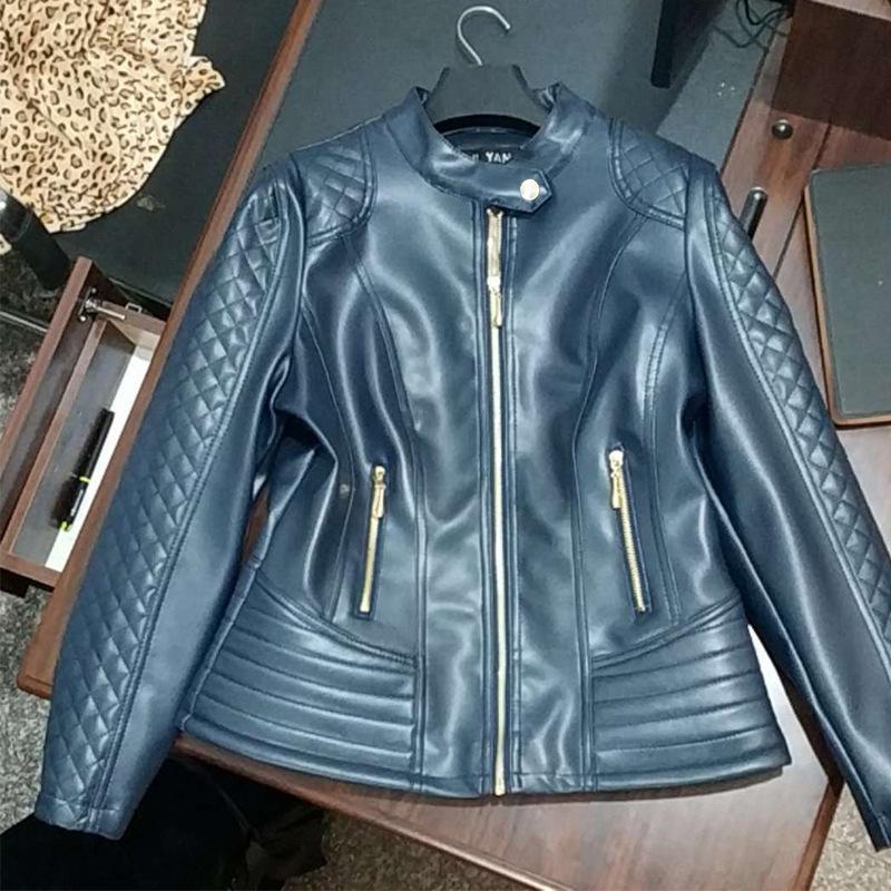 Washed   leather   autumn   leather   jacket Coat women 2019 fashion stitching ladies spring long zipper bomberka damska abrigo 6XL blue