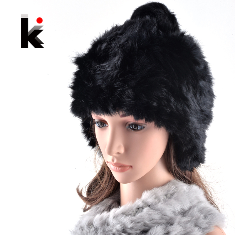 2017 Fashion skullies winter cap with ear flaps female bomber rex rabbit fur hat thickening knit hats for woman skullies