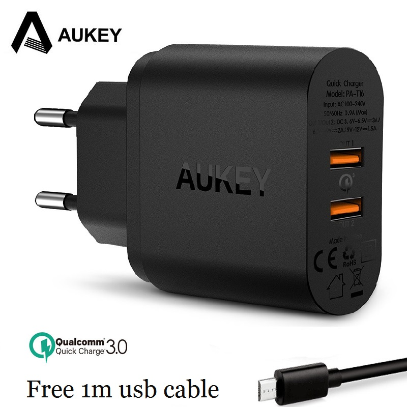 Powerful DUAL Ports QC 3.0 Charger, AUKEY Quick Charge 3.0 Fast Phone USB Charger for Xiaomi Samsung Lg g5 etc,QC 2.0 Compatible