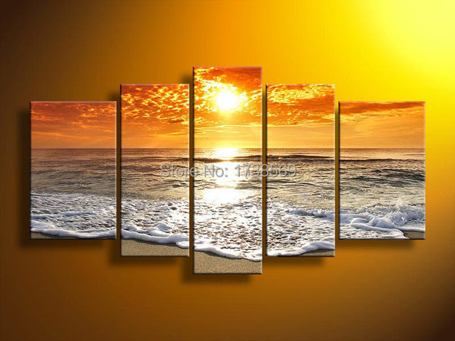5 Panel Wall Art Picture Modern Home Decoration Canvas Print Orange Sunset Wave Painting Printed On For Living Room F0192