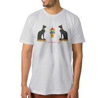 رجل أسود القط مصممة مصر عنخ جولة الرقبة الرجل تي شيرت س الرقبة القطن أزياء مطبوعة تي شيرت لل رجل