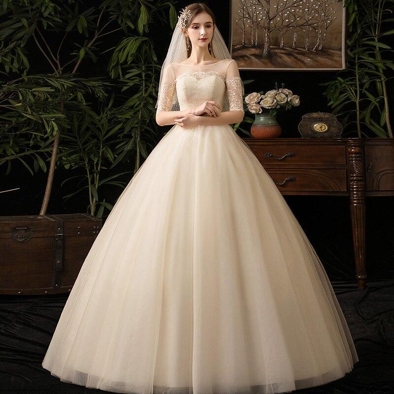 Vestido De Noiva Elegant Champagne Wedding Dresses O-Neck Off The Shoulder Lace Up Ball Gown Formal Lace Bride Dresses Gelinlik