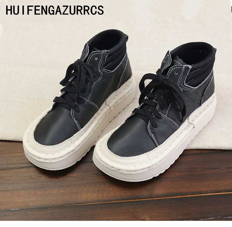 HUIFENGAZURRCS Japanese women with thick leather big leather short boots real leather hand made comfortable boots