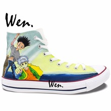 Wen Anime Design Custom Hunter X Hunter Hand Painted Canvas Shoes High Top Men Women's Sneakers for Adults Birthday Presents